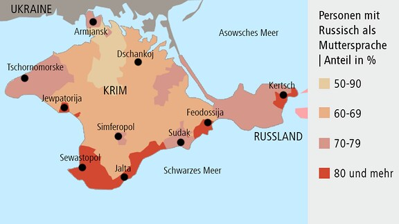Krim - Personen mit Russisch als Muttersprache | Anteil in %