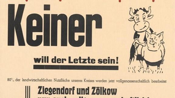 """Aufruf der """"Kreisagitations-Kommission"""" Parchim  zum Eintritt in die LPG  aus dem Jahr 1960."""