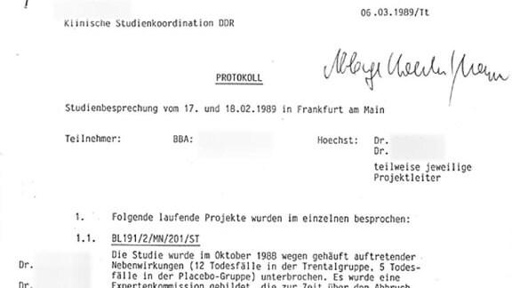 Protokoll einer Besprechung bei der Hoechst AG über die klinische Studienkoordination in der DDR
