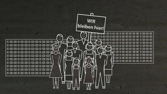 """Zeichnung Menschen vor Plattenbau mit Schild """"Wir bleiben hier"""""""