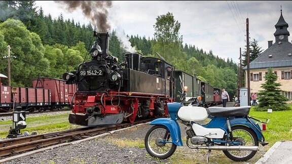 Die Preßnitztalbahn (Museumsbahn zwischen Steinbach und Jöhstadt) im Bahnhof Schössel
