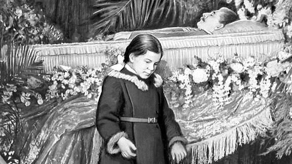 Gemälde: Stalins Tochter Swetlana Allilujewa bei der Leiche des Vaters Josef Stalin.