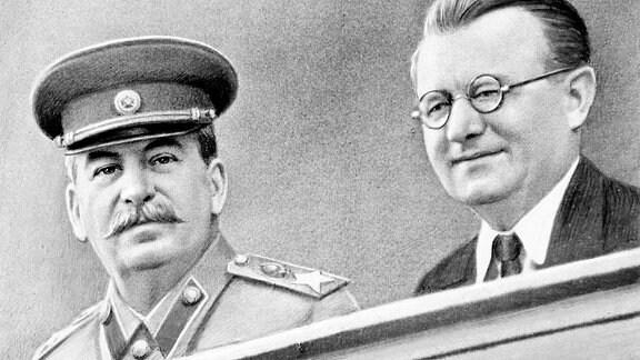 Joseph Stalin und Klement Gottwald während einer Tagung. (1953) - retuschiertes Foto