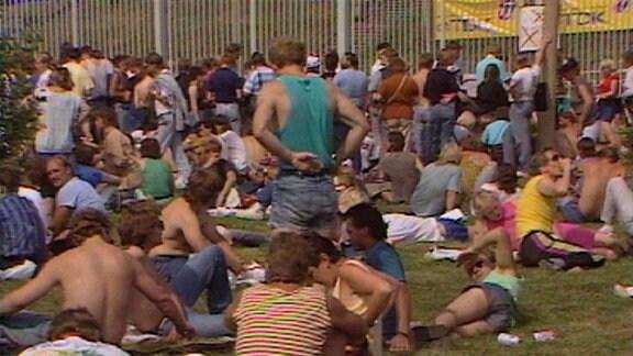 Publikum vor dem Konzert auf einer Wiese, viele liegen auf dem Rasen