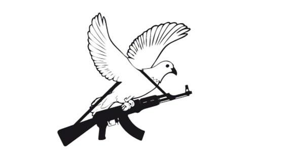 Friedenstaube mit Kalaschnikow