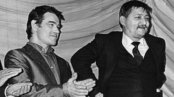 Hilmar Thate und Rainer Werner Fassbinder 1982