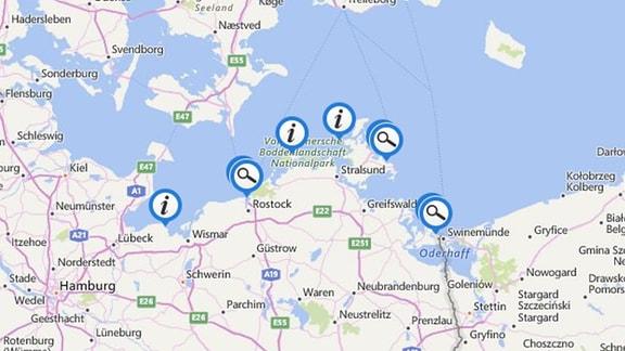 Von Boltenhagen bis Zinnowitz - auf unserer interaktiven Karte können Sie sich schnell orientieren, zu welchen beliebten Urlaubszielen wir Texte und Videos im Angebot haben. Machen Sie sich auf die Reise an die Ostsee!