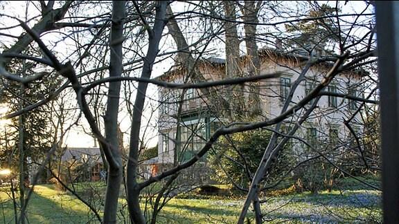 Blick durch einen Garten zu einer schönen Villa