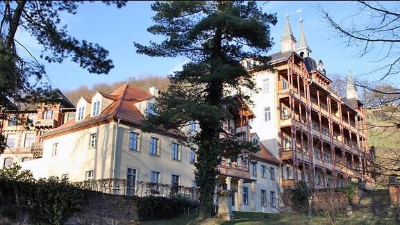 Ein sehr großes Haus mit vielen Balkonen vor einem Weinberg