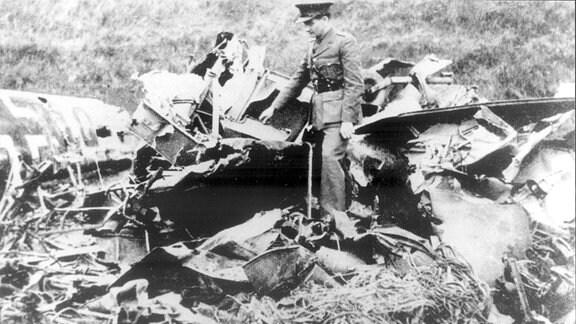 Wrack des Flugzeuges von Rudolf Heß in Schottland