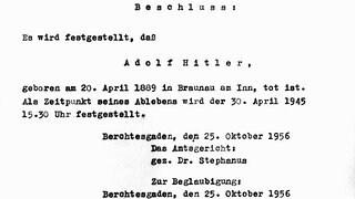 Формулировка решения Окружного суда Берхтесгадена.  Адольф Гитлер был официально объявлен мертвым 25 октября 1956 года в окружном суде Берхтесгадена.