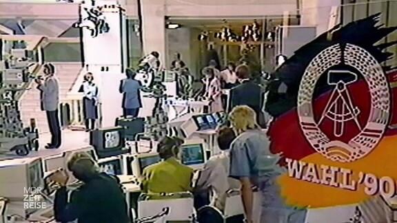Archivaufnahme eines Fernsehstudios um 1990